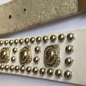 White Studded Leather Belt